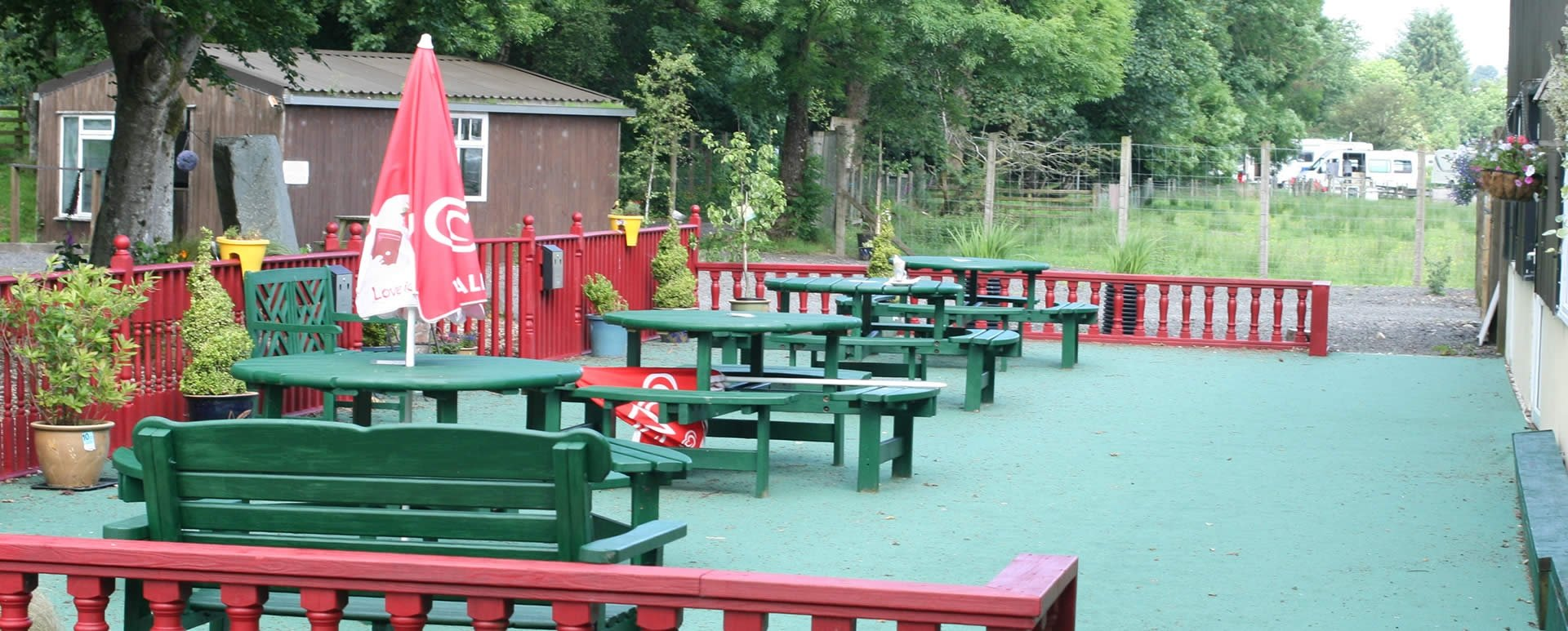 Outdoor seating area at The Green Frog, Moffat